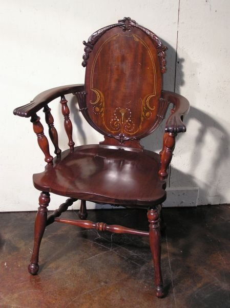 1002: Mahogany Curved Back Arm Chair
