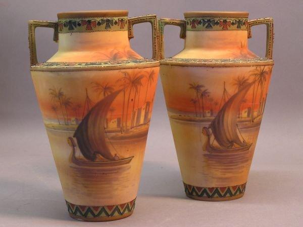 1007: Pair of Scenic Nippon Vases