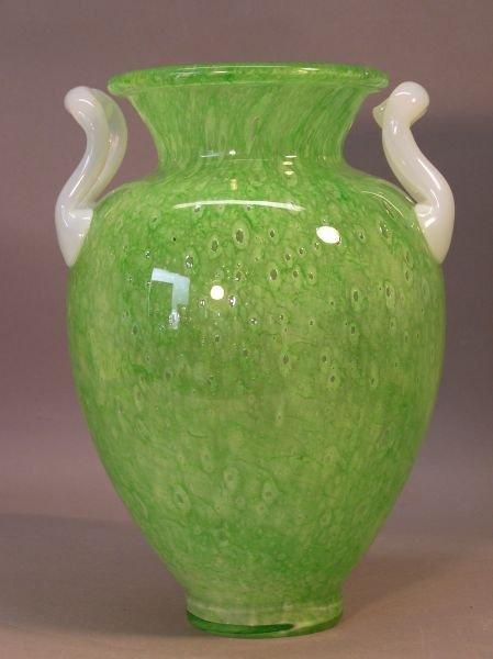 1031: Steuben Green Glass Double Handle Vase