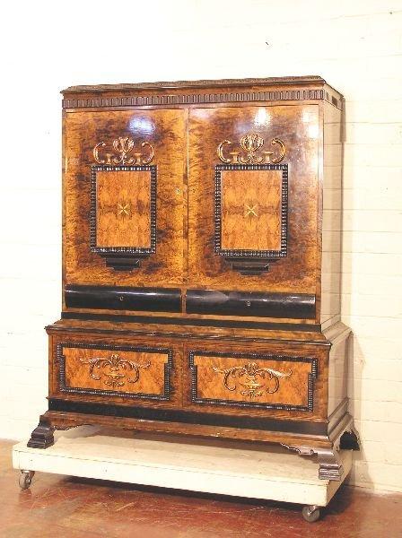 1172: Swedish Burl Walnut Inlaid Wine Cabinet