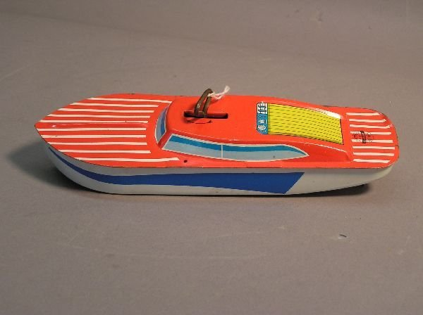 11: Wind Up Tin Lithograph Toy Boat