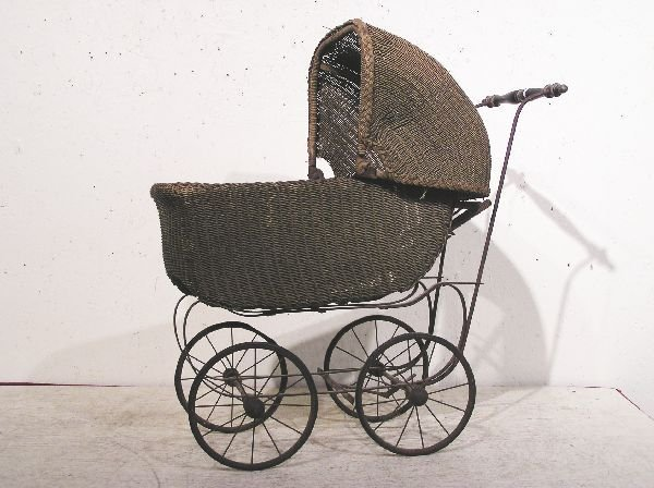 19: Wicker Baby Doll Carriage