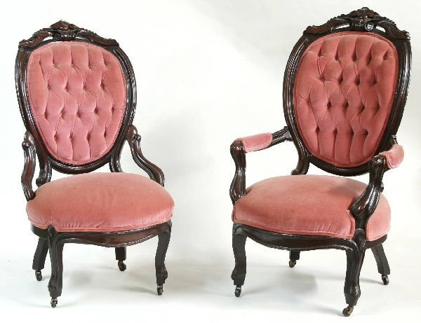 1004: Pair of Victorian Ladies and Gents Chairs
