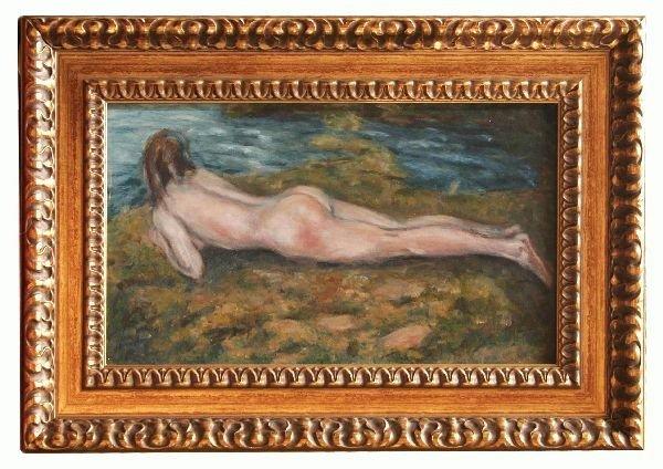 1015: Oil on Board of a Nude Signed Zandomeneghi
