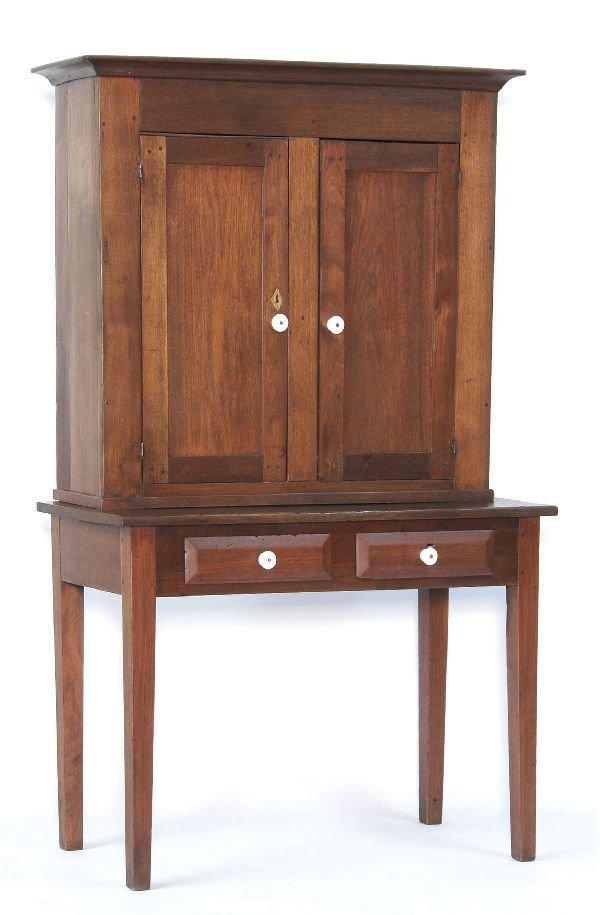 1016: Early Pegged Stepback Walnut Cupboard