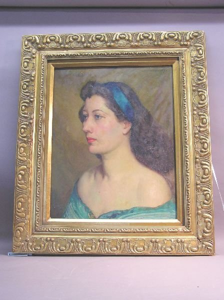 1025: Oil on Canvas Portarait of a Woman Artist Signed