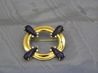 1: Blue Lapis and Diamond Pin in 18k Gold -J2