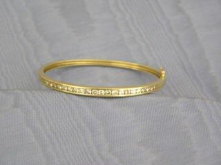 9: 14k Gold and Diamond Bangle Bracelet  - J1