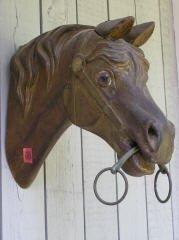 18: Carved Wood Horse Head w/ Glass Eyes R192