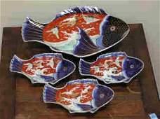 161 Japanese Imari Fish Plate Set  B172