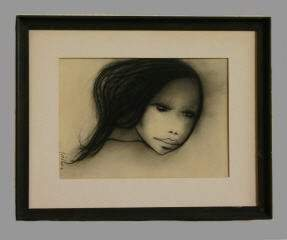 Charcoal on Paper of a Young Girl, Signed 303-136