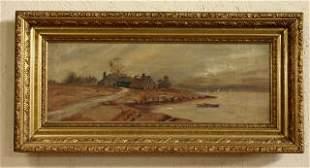 Oil on Canvas Landscape in Gold Gilt Frame 204