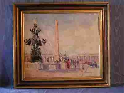 """2055: """"Place de la Concorde Paris""""  Artist Signed Oil"""