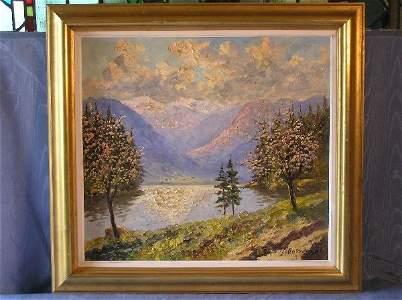 "2059: ""Springtime"" Oil on Canvas Artist Signed 83-102"