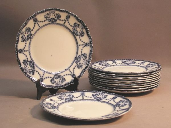 1017: Set of 12 Flow Blue Small Plates