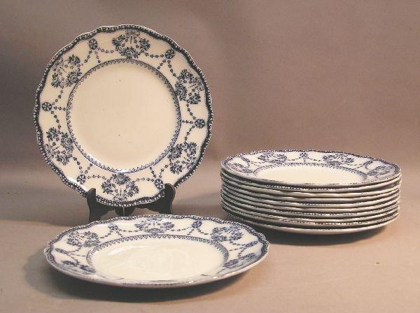 1019: Set of 12 Medium Flow Blue Plates