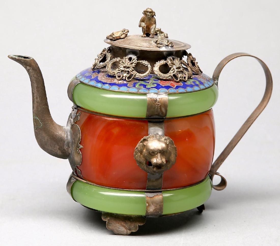 Chinese Jade, Carnelian, Silver Enamel Teapot