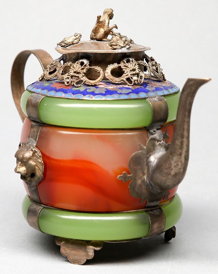 Chinese Jade, Carnelian, Silver Enamel Teapot - 2