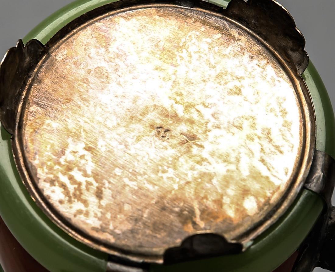 Chinese Jade, Carnelian, Silver Enamel Teapot - 3