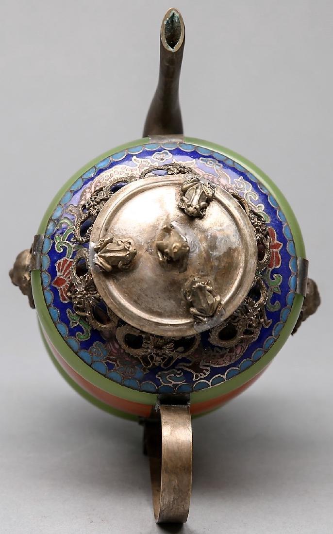 Chinese Jade, Carnelian, Silver Enamel Teapot - 4