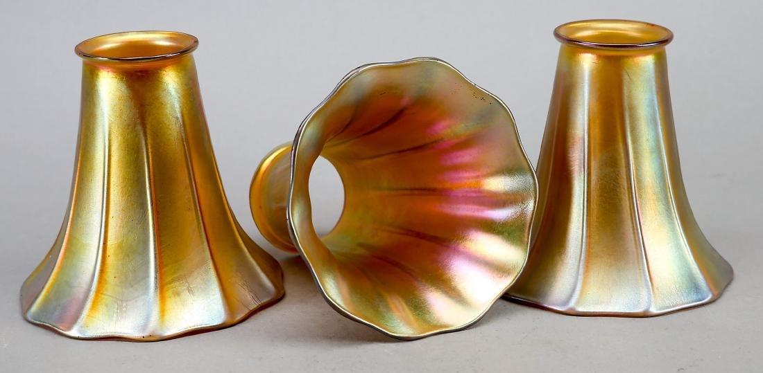 Art Nouveau Gold Aurene Quezal Light Shades, Excellent