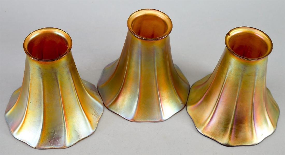 Art Nouveau Gold Aurene Quezal Light Shades, Excellent - 2