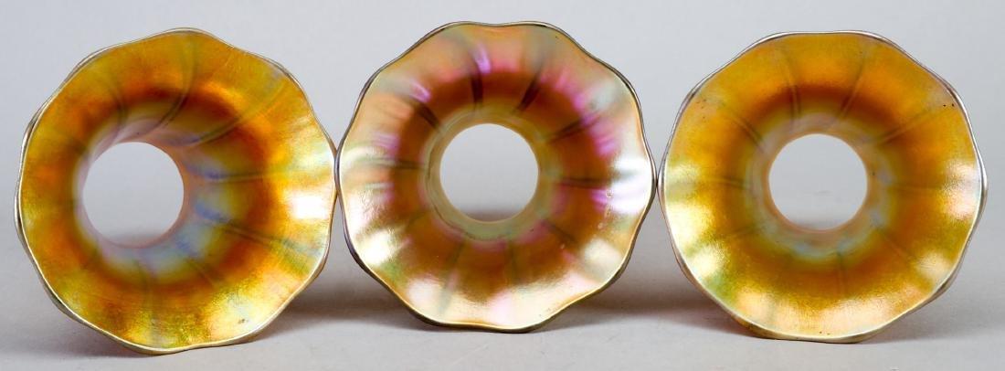 Art Nouveau Gold Aurene Quezal Light Shades, Excellent - 3