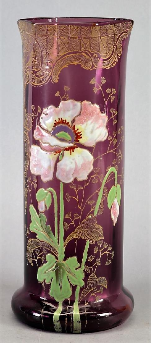 c1900 Mont Joye enamel Legras Art Nouveau enamel Vase