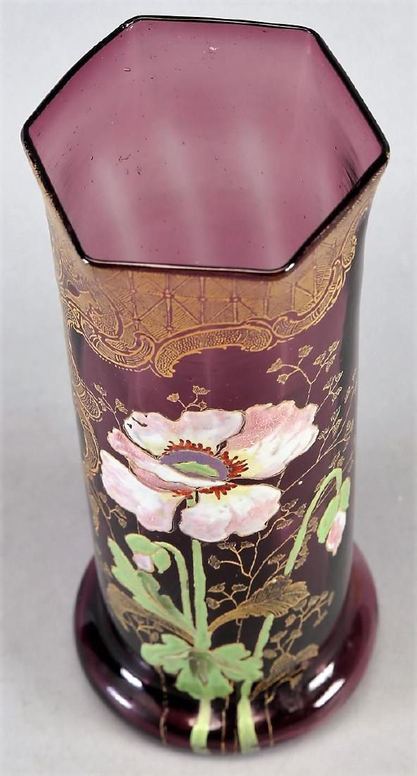 c1900 Mont Joye enamel Legras Art Nouveau enamel Vase - 2