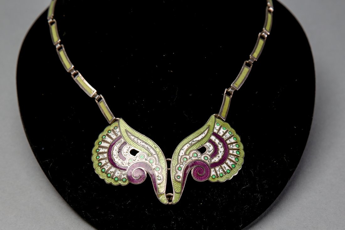 Vintage Margot De Taxco Sterling/Enamel Necklace - 4