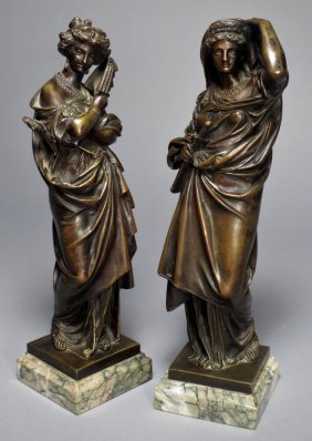 French Bronzes Signed A. Carrier Two Roman Ladies
