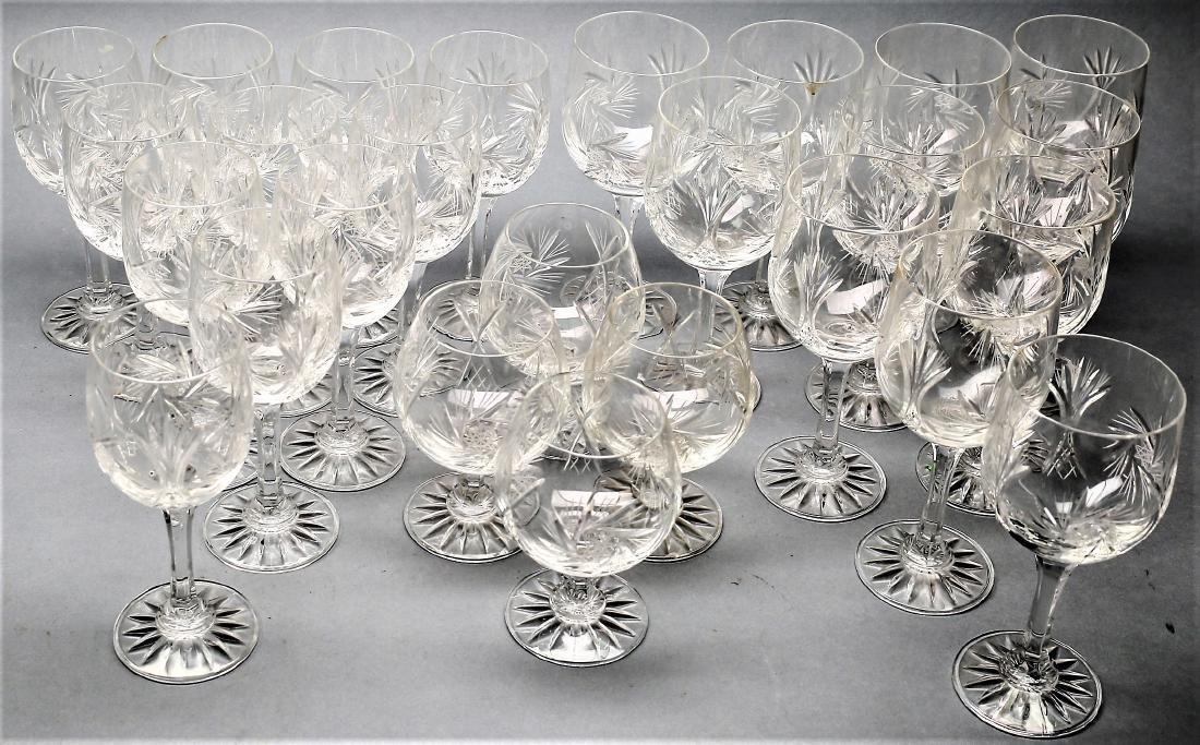 Czechoslovakian Cut Crystal Stemware group Pinwheel 26