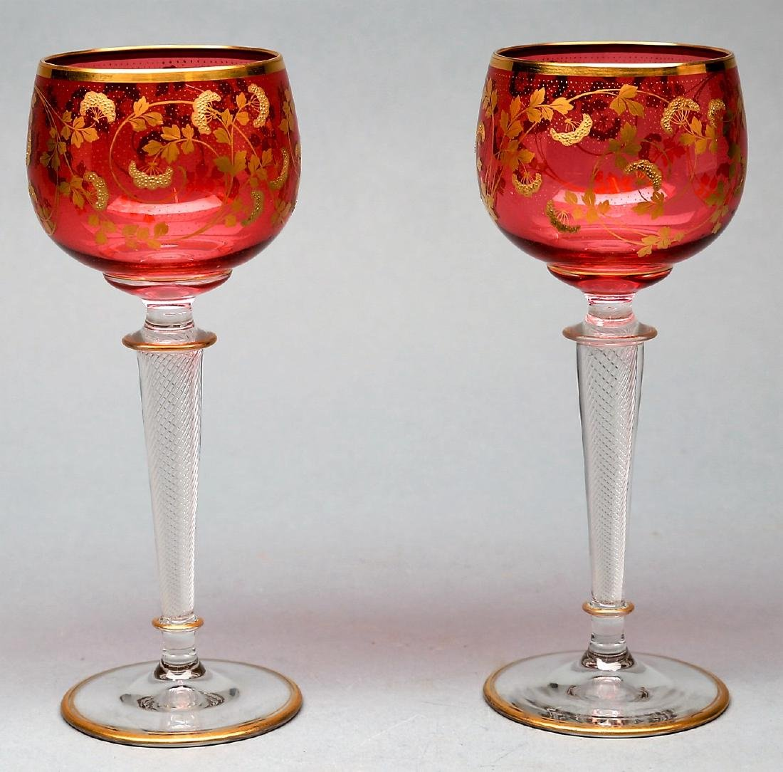 St. Louis Glass French Air Twist Stems, Cranberry, Gold