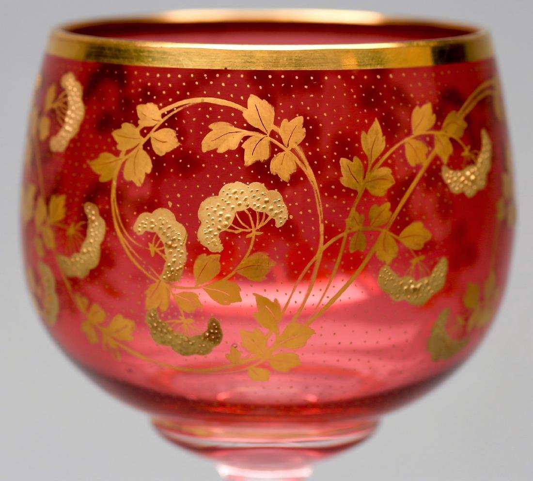 St. Louis Glass French Air Twist Stems, Cranberry, Gold - 2