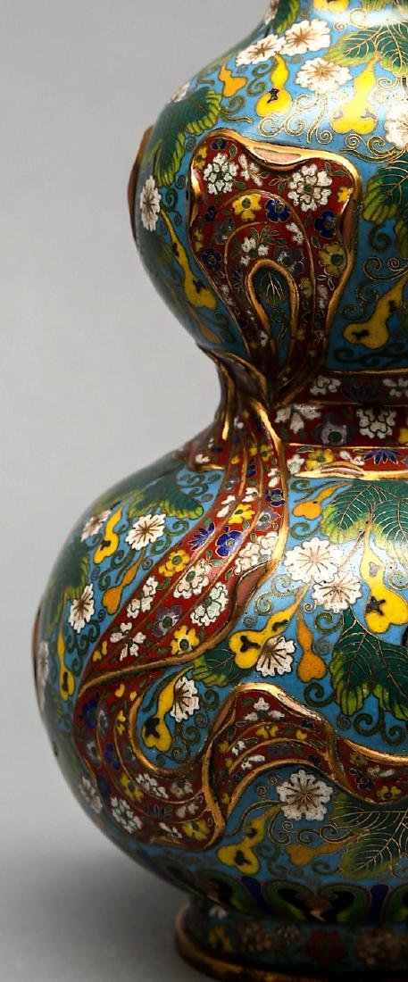 Antique Chinese  Double Gourd Cloisonne Vase Signed. - 2
