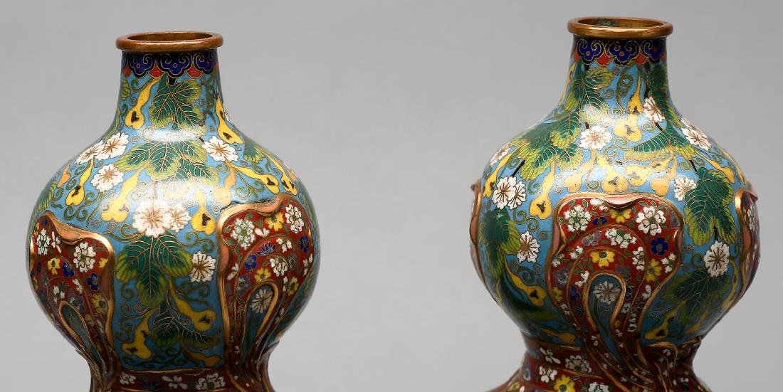 Antique Chinese  Double Gourd Cloisonne Vase Signed. - 3