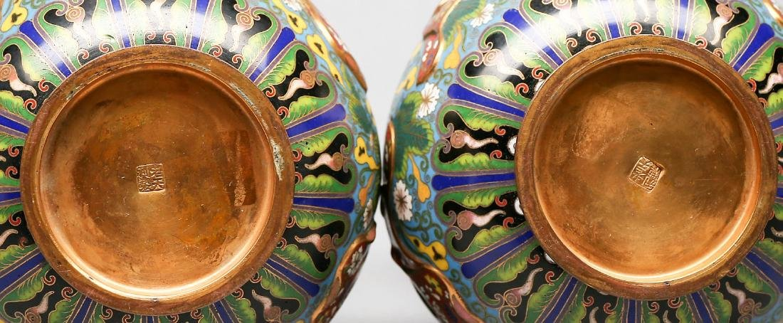 Antique Chinese  Double Gourd Cloisonne Vase Signed. - 4