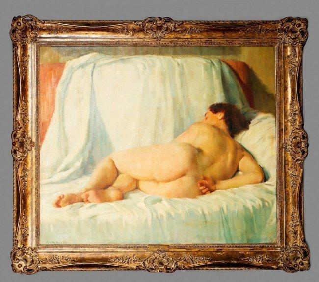 "Geza Kende Oil Painting On Canvas ""Siesta"""