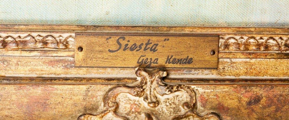 "Geza Kende Oil Painting On Canvas ""Siesta"" - 4"