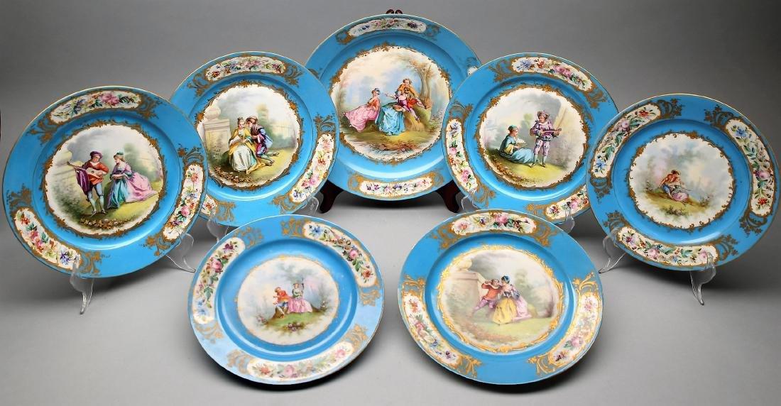 1782 Sevres Porcelain Hand Painted Plates