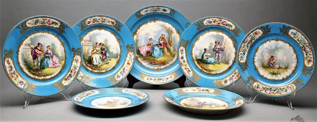 1782 Sevres Porcelain Hand Painted Plates - 2