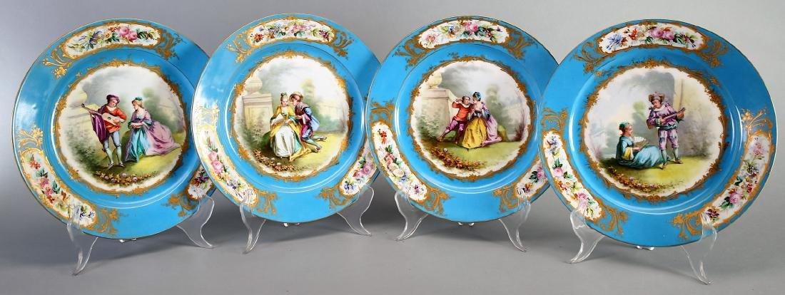 1782 Sevres Porcelain Hand Painted Plates - 4