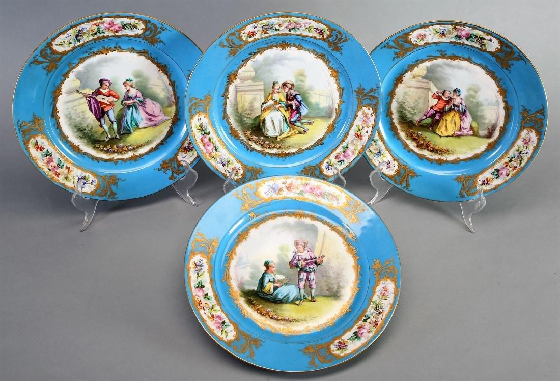 1782 Sevres Porcelain Hand Painted Plates - 5
