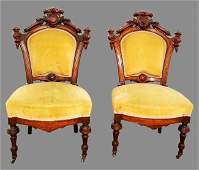 Pair of 1880's American Renaissance Revival Carved Wood