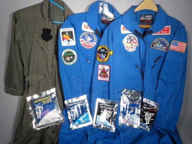 3 NASA Astronaut Jumpsuits w/ Patches + Space Food