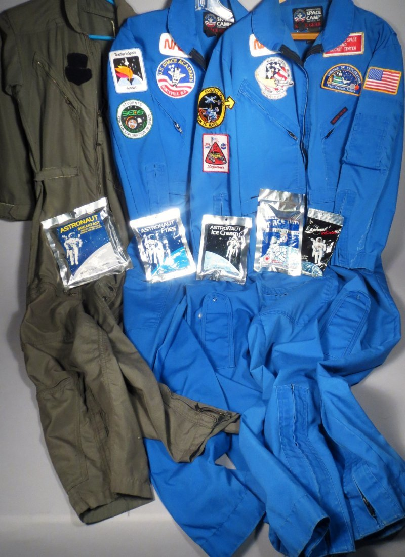 3 NASA Astronaut Jumpsuits w/ Patches + Space Food - 3
