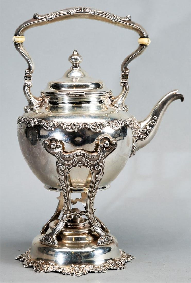 1899 Gorham Sterling Teapot with Warming Stand - 2