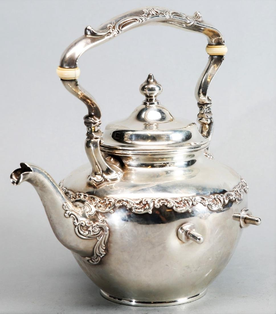 1899 Gorham Sterling Teapot with Warming Stand - 4