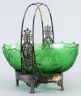 Victorian Rogers Smith & Co Bride Basket, Silverplate,