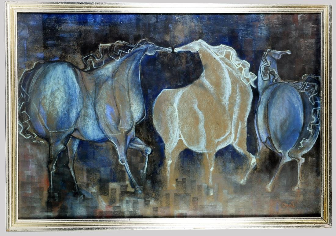 Mid-Century Modern Artwork Artist Signed, Pastel Horses